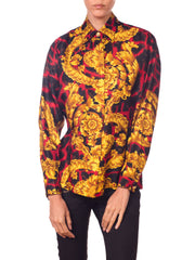 Gianni Versace Red Leopard Baroque Silk Shirt