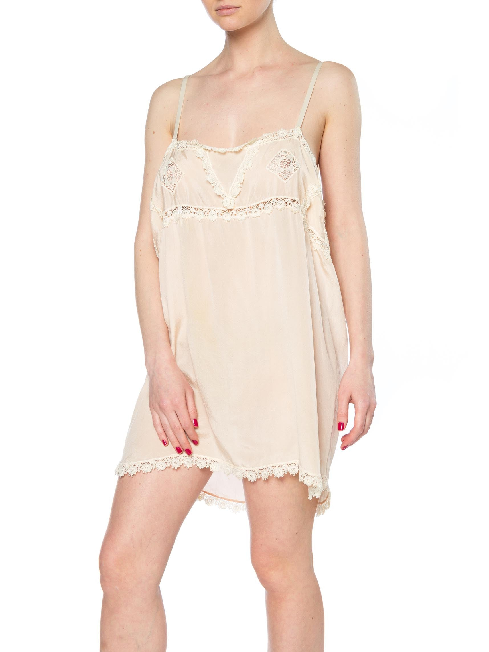 1920S Blush Pink Silk & Lace Slip Dress Negligee