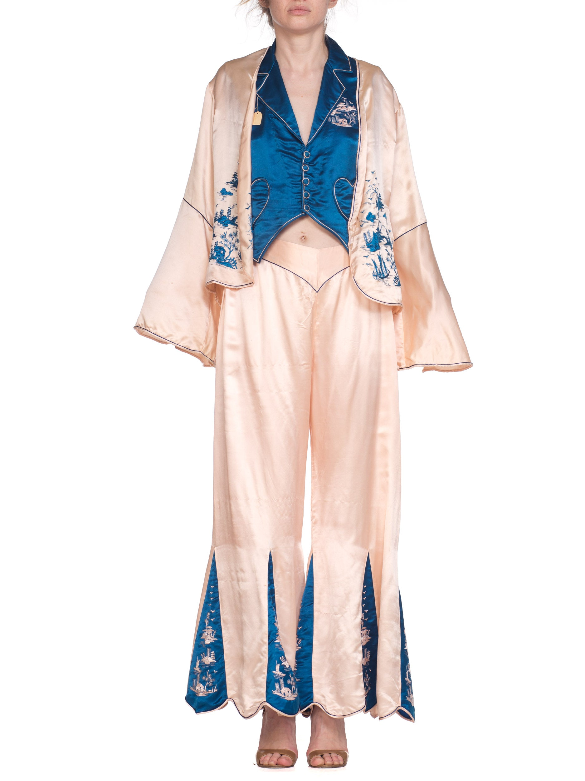 1920s 3 Piece Blue and Pink Asian Beach Pajamas With Embroidery Detail