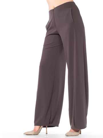 Charcoal Silky Cargo Wide Leg Pants