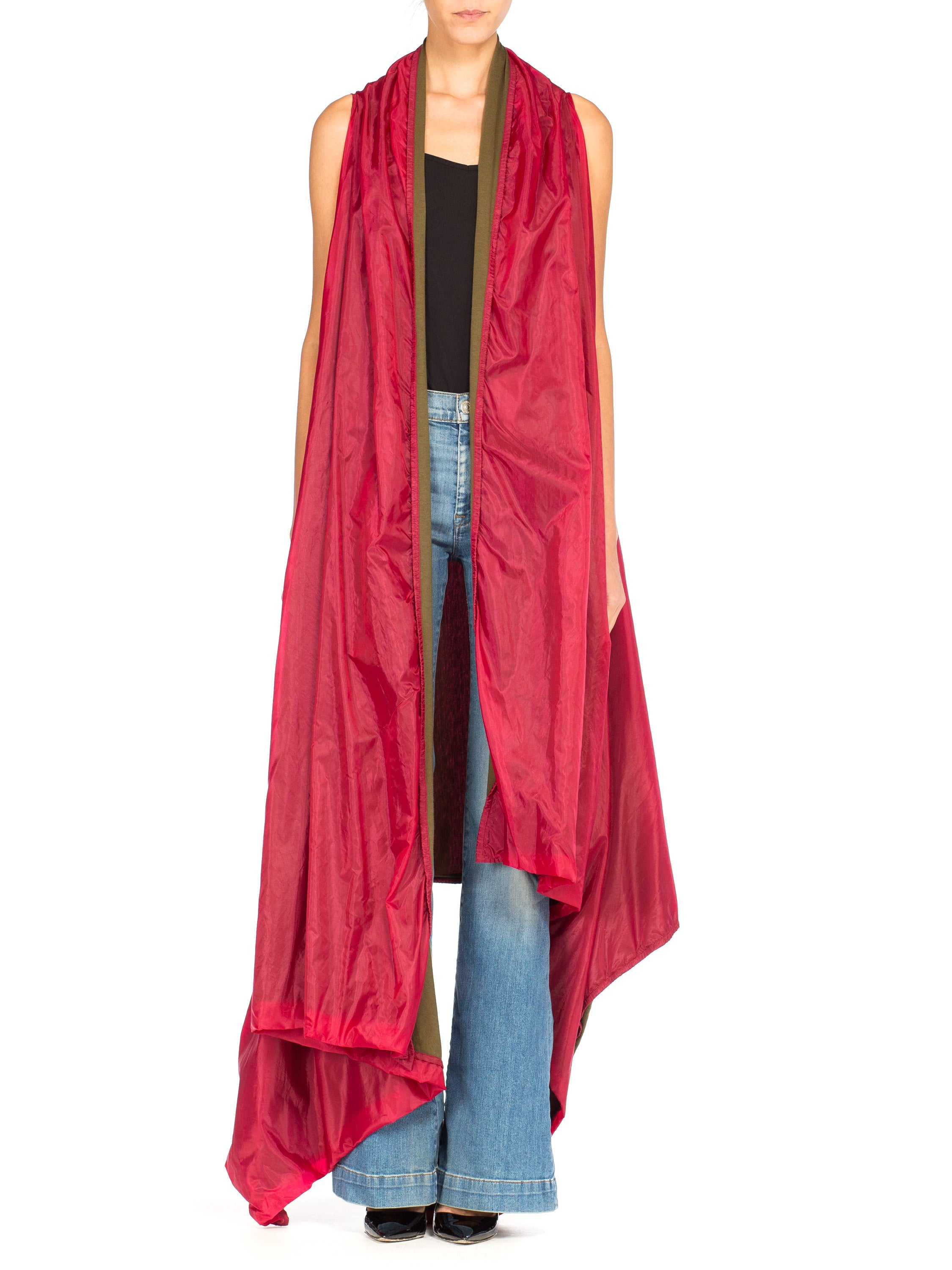 2000S ANN DEMEULEMEESTER Magenta Nylon Asymmetrical Waterfall Vest With Jersey Contrast Lining