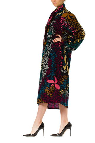 1970S Averardo Bessi Silk Wool Abstract Floral Colorblock Shirt Dress