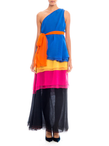 1970s Stephen Burrows Battle of Versailles Colorful Tiered Chiffon Ensemble