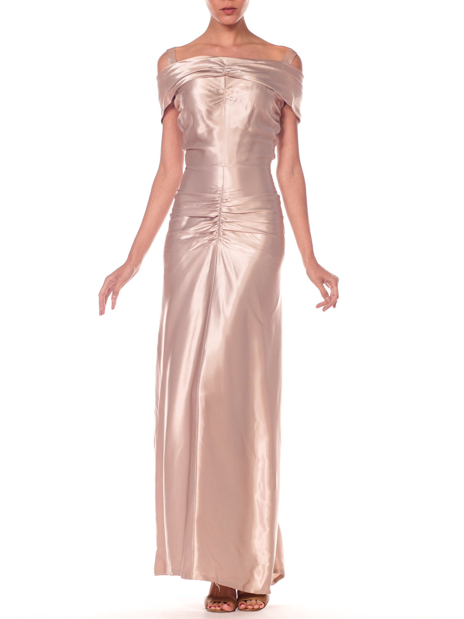 1940s Draped Silver Evening Gown With Back Bustle Detail