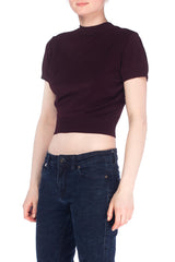 1990S Alaia Style Eggplant Viscose Blend Knit Perfect Cropped Top