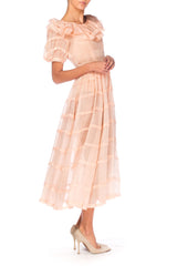 1930s Pink Organdy Short Sleeve Dress