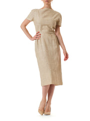 1950s Linen Short Sleeve Day Dress with Button Embellishment