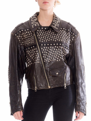 Jean Paul Gaultier Famous Love Hate Studded Leather Jacket