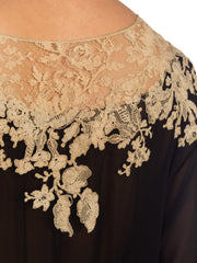 1920s Flapper Sheer Silk Dress With Hand Stitched Lace