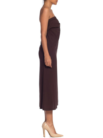 1990S ANN DEMEULEMEESTER Chocolate Brown Silk Stretch Minimal Strapless Dress