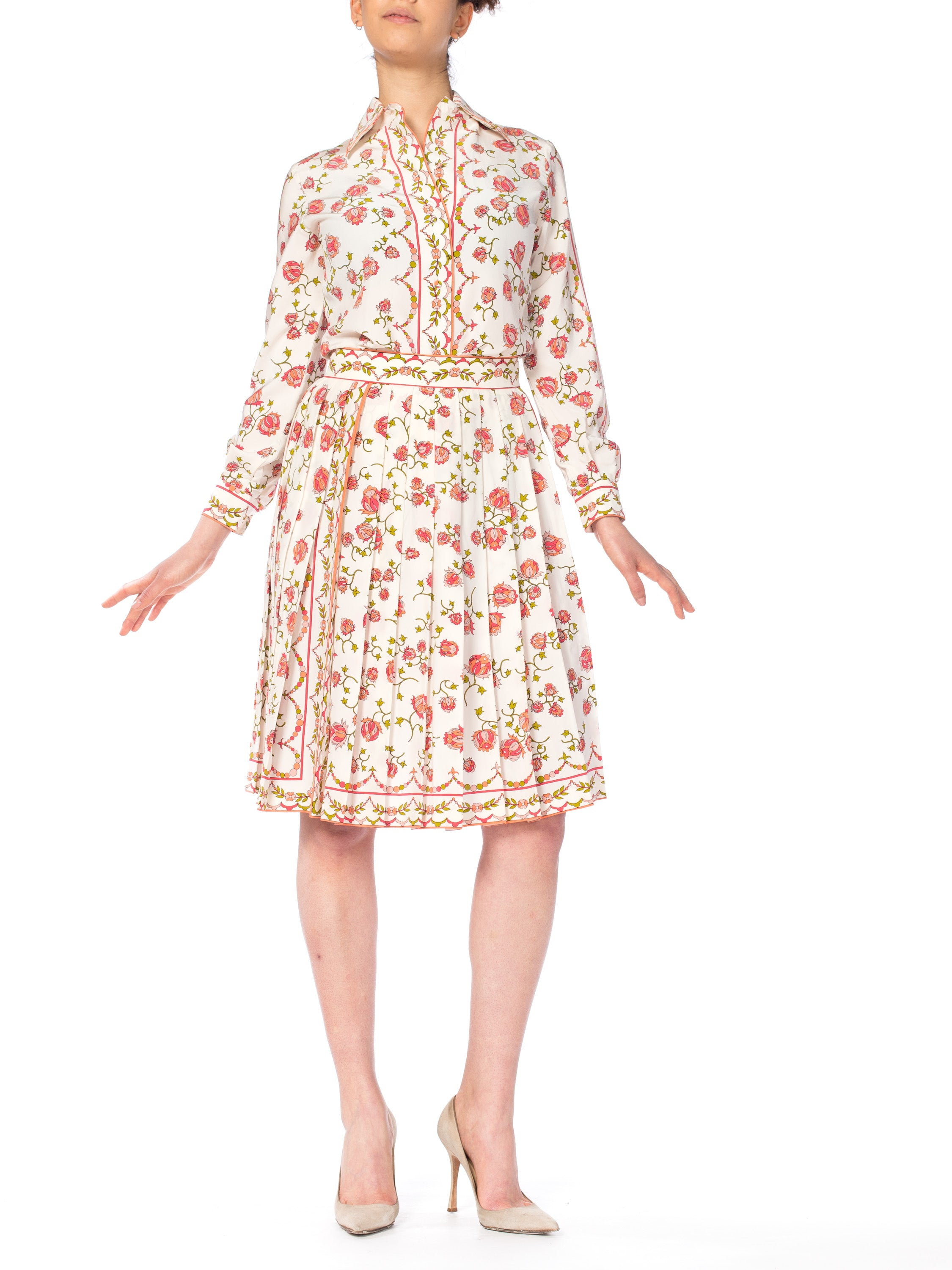 Emilio Pucci Silk Floral Two Piece Skirt Set