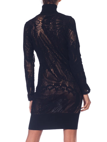 1990S JEAN PAUL GAULTIER Black Bronze Metallic Stretch Lace Dress
