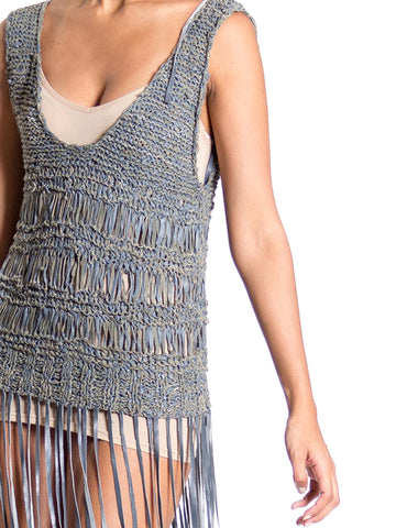 1970S Grey Leather & Suede Knit Scoop Neck Top With Long Fringe
