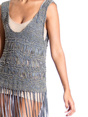 1990S Leather Knit Fringe Scoop Neck Tunic