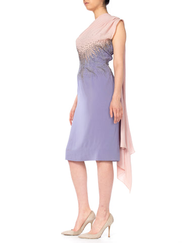 1950S FERCIONI Pink & Purple Haute Couture Silk Beaded One Shoulder Cocktail Dress