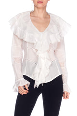Anne Fontaine Victorian Ruffled Cotton Blouse