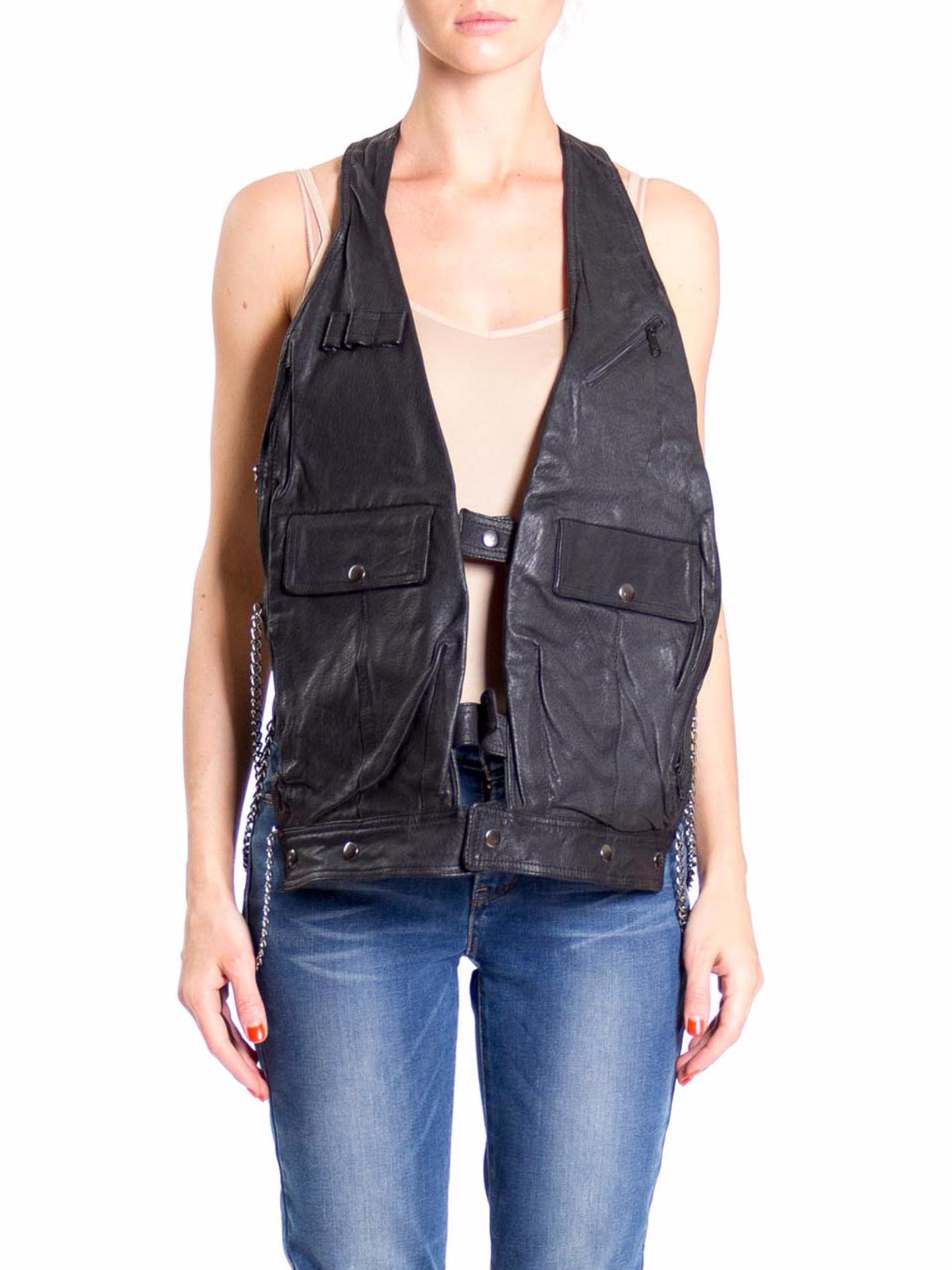 Morphew Lab Updated 1980s Biker Rocker Leather Pocket Vest with Chains