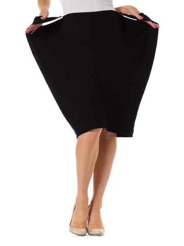 1990s Martin Margiela Black Draped Minimalist Pencil Skirt