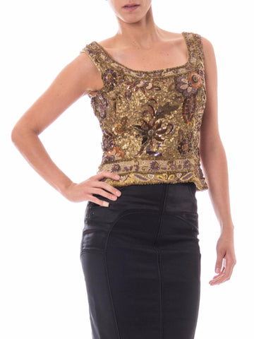 1980s Gold Floral Sequin Shell Top