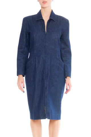 1980s Donna Karan Zip Front Denim Dress