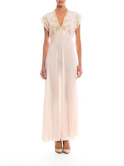 1930s Handmade Silk Lace Nightgown