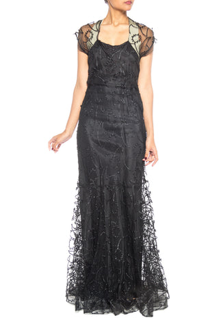1930s Embroidered Sheer Net Gown With Bias Lining