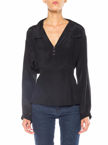 1910s Black Silk Long Sleeve Top with Collar and Pleats