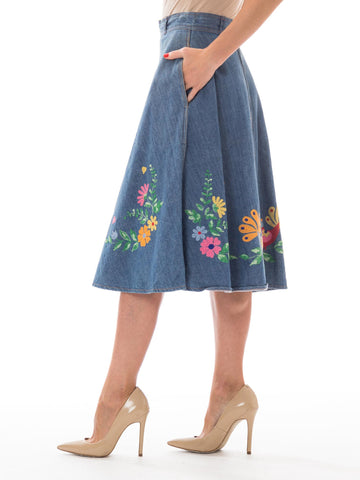 1970S Blue Cotton Denim Folk Floral Embroidered A-Line Jean Skirt From Europe