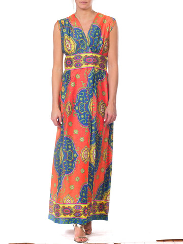 1970s Psychedelic Bright Paisley Wrap Dress