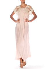 1920s Lace and Silk Long Negligee