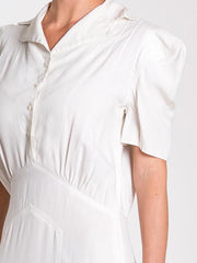 1930s Nurse's White Puff Sleeve Midi Dress with Waist Best Pocket