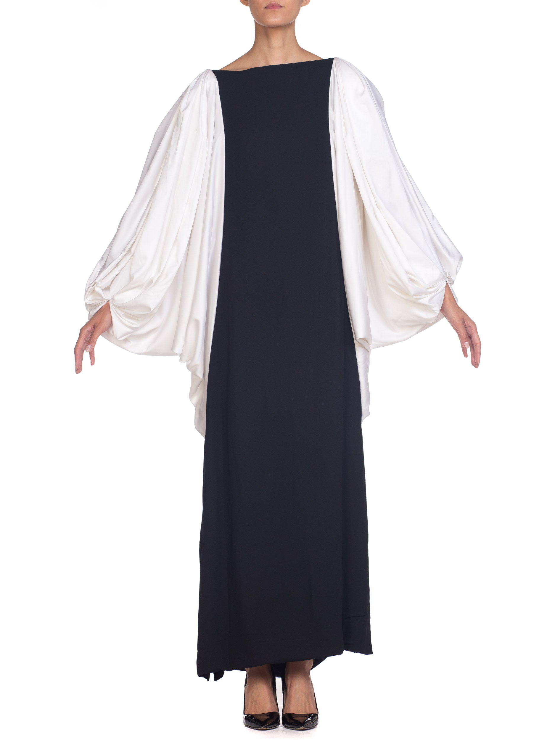 1980s Richilene Giant Baloon Sleeve Gown with Slit