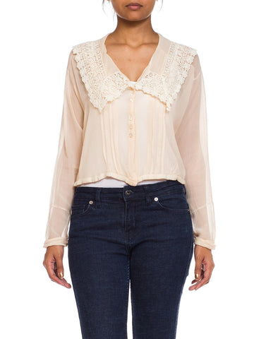 Sheer Silk Chiffon Edwardian Blouse With Lace Collar
