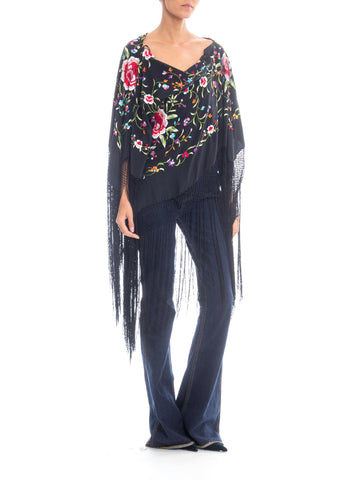 Morphew Lab 1970s Style Boho Floral Embroidered Poncho with Fringe