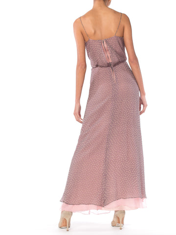 1970S Dove Grey & Pink Silk Chiffon Spaghetti Strap Cowl Neck Evening Gown