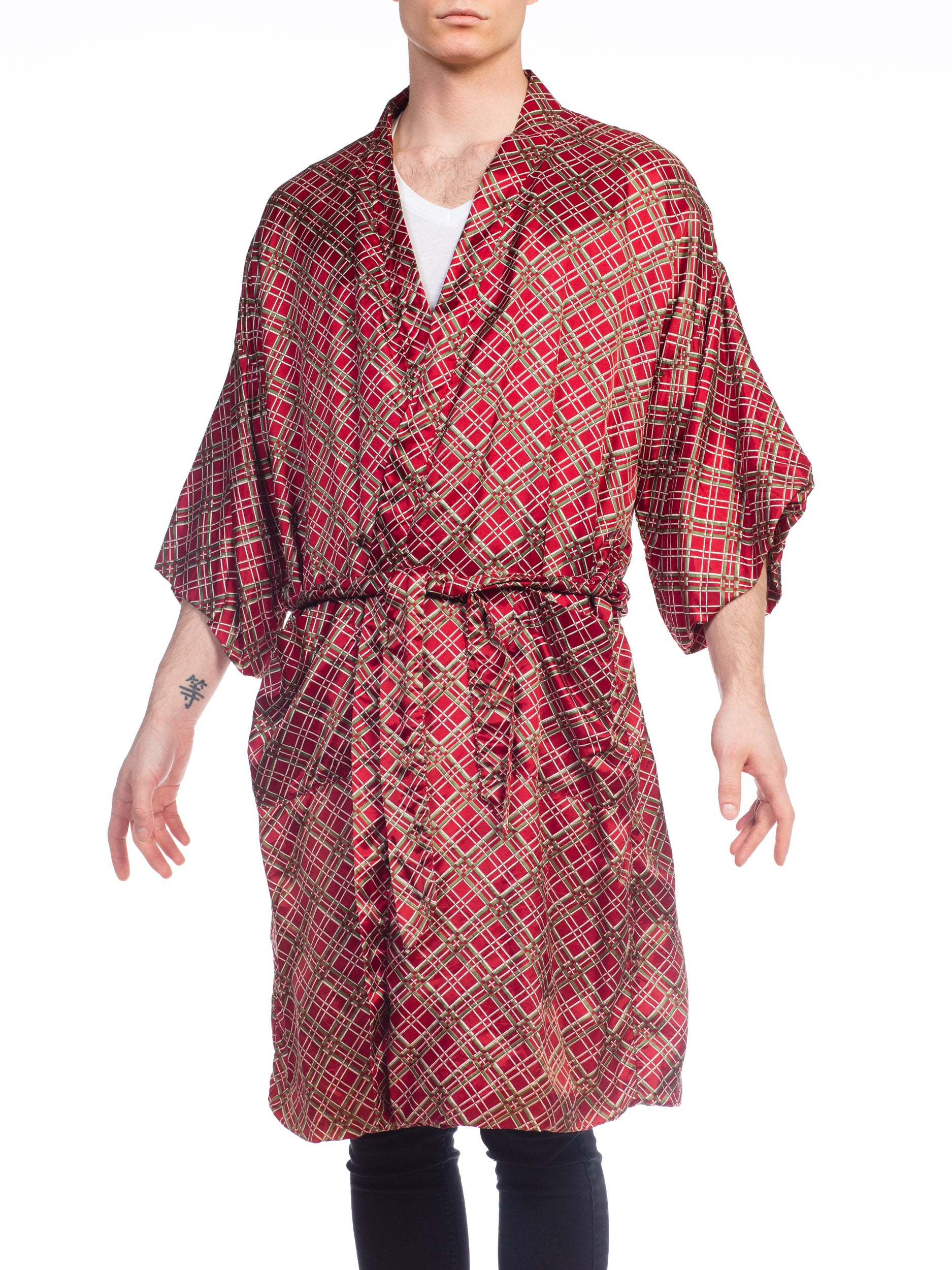 Mens Silky Plaid Robe