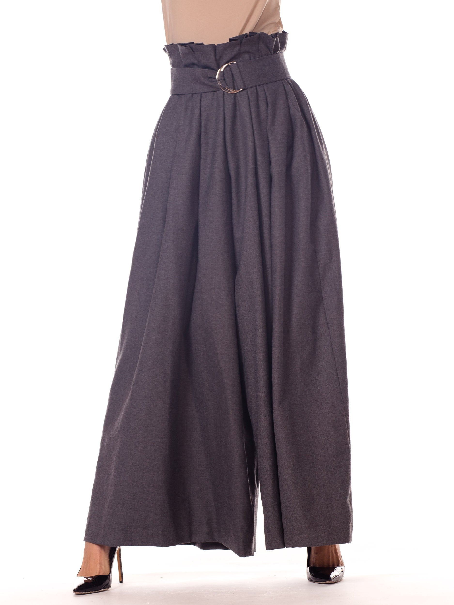 1990S HOUGHTON Heather Grey Cashmere Wide Leg Paperbag Pants With Self Fabric Belt