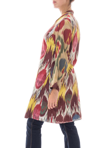 1990S Multicolor Hand Woven Silk Ikat Duster Made From Antique Fabric