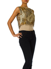 1960s Gold Jacquard Beaded Fringe Top with Back Zip and Silk Lining