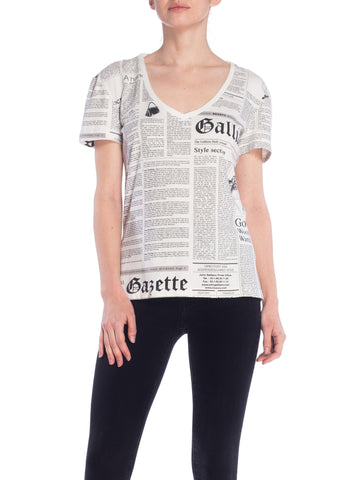 Galliano Newspaper Print V Neck Tee Shirt