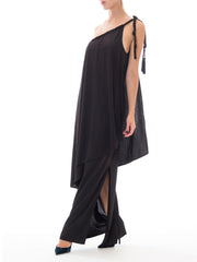 1970s Black One Shoulder Woven Tassel Strap Asymmetrical Draped Gown