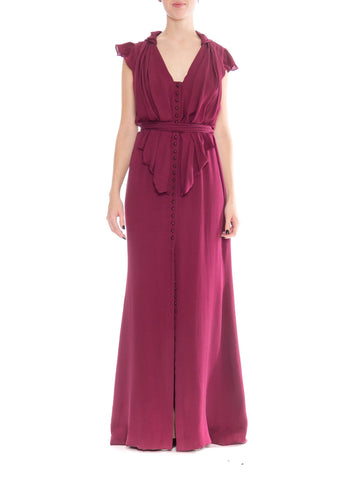 2000S CAROLINA HERRERA Cranberry Red Silk Jacquard Button Front & Trained Gown With Slit