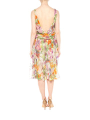 1990s Backless John Galliano Christian Dior Beaded Floral Chiffon Garden Dress