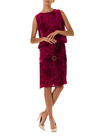 1920S Hot Pink Burnout Silk Velvet Drop Waist Flapper  Cocktail Dress With Crystal Buckle