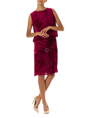 1920s Burnout Silk Velvet Drop Waist Pink Flapper Dress with Crystal Buckle