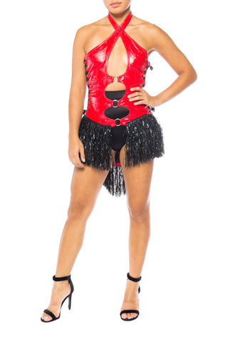 Red Pleather Halter Corset With Fringe