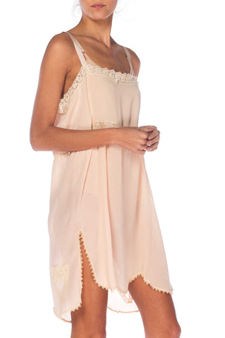 1920S Blush Pink Silk Crepe De Chine Lace Trimmed Negligee Slip Dress