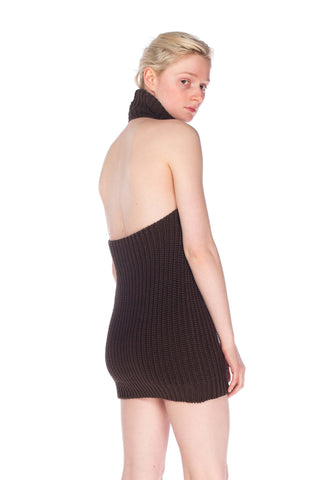 1990S Cotton Backless Knit Cowl Neck Halter Top Mini Dress