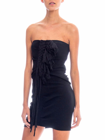 1990S FENDI Black Strapless Poly/Lycra Knit Bodycon Cocktail Dress With Shredded Chiffon Ruffle