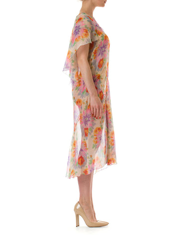 1930S Silk Mousseline Bright & Colorful Floral Pullover Garden Party Dress Fully French Seamed